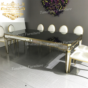 Designs wedding furniture mirror rectangle black glass dining table
