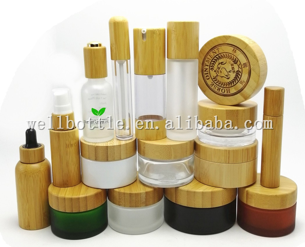 luxury cosmetic container bamboo cosmetic jars gold lid GJ144R