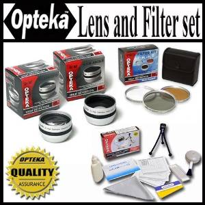 HD2 Professional Lens & Filter Set For The Sony DCR-SR68 DCR-SR88 HDR-CX110 HDR-CX150 HDR-CX300 HDR-CX350 HDR-CX500V HDR-CX550V HDR-XR150 HDR-XR350V HDR-XR550V HDR-HC9 HDR-XR100 HVR-A1U XR100 Package Includes 2X Telephoto Lens, 0.5X Wide Angle Lens With Macro, 3 Piece Filter Kit UV, PL, FLD and
