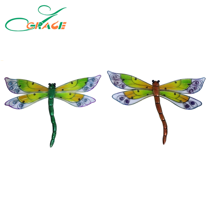 Metal/glass decorative dragonfly wall plauqe