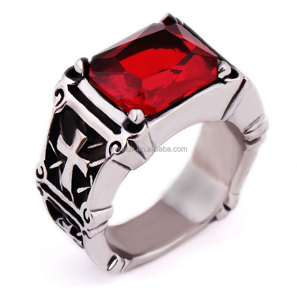 vintage gothic cross ring man antique cross ring with red diamond for men gifts