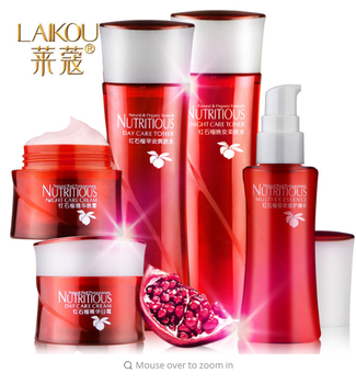 LAIKOU Red pomegranate skin care cosmetics set 5 piece suit moisture replenishment remove yellow toner cream essence