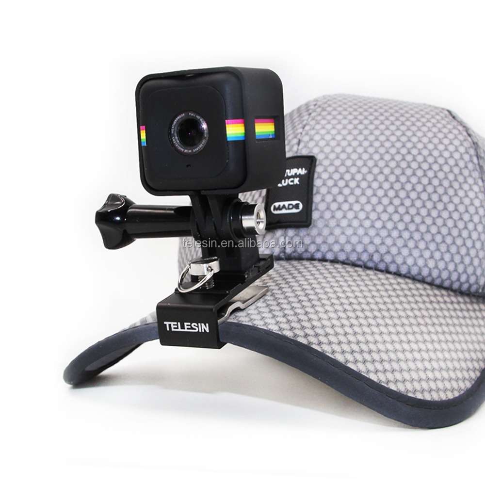 TELESIN Aluminum Alloy Stable Cap Hat Clip Mount Backapck Clip for Polaroid Cube