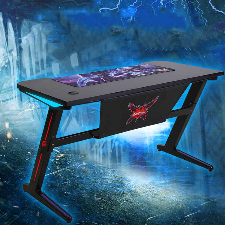 Custom Led Z Shaped Computer Gaming Desk Pc Gaming Table