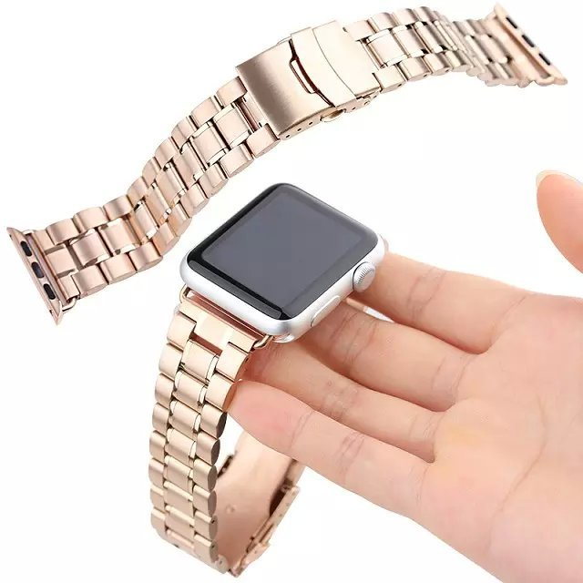Black and Rose gold Stainless Steel Strap watches Band For Apple Watch iWatch 42mm