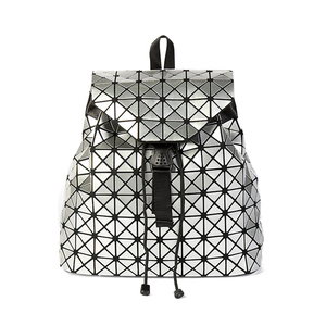 pu holographic japan style foldable geometric backpack for women