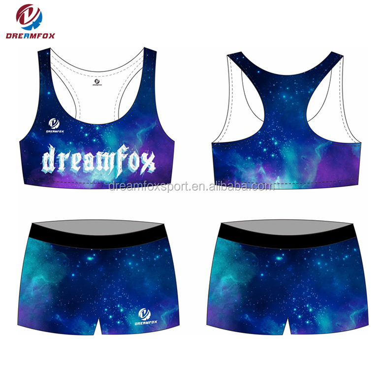 55af4ee841 design your own custom cheerleading sports bra shorts gym practice wear  child cheerleading uniform
