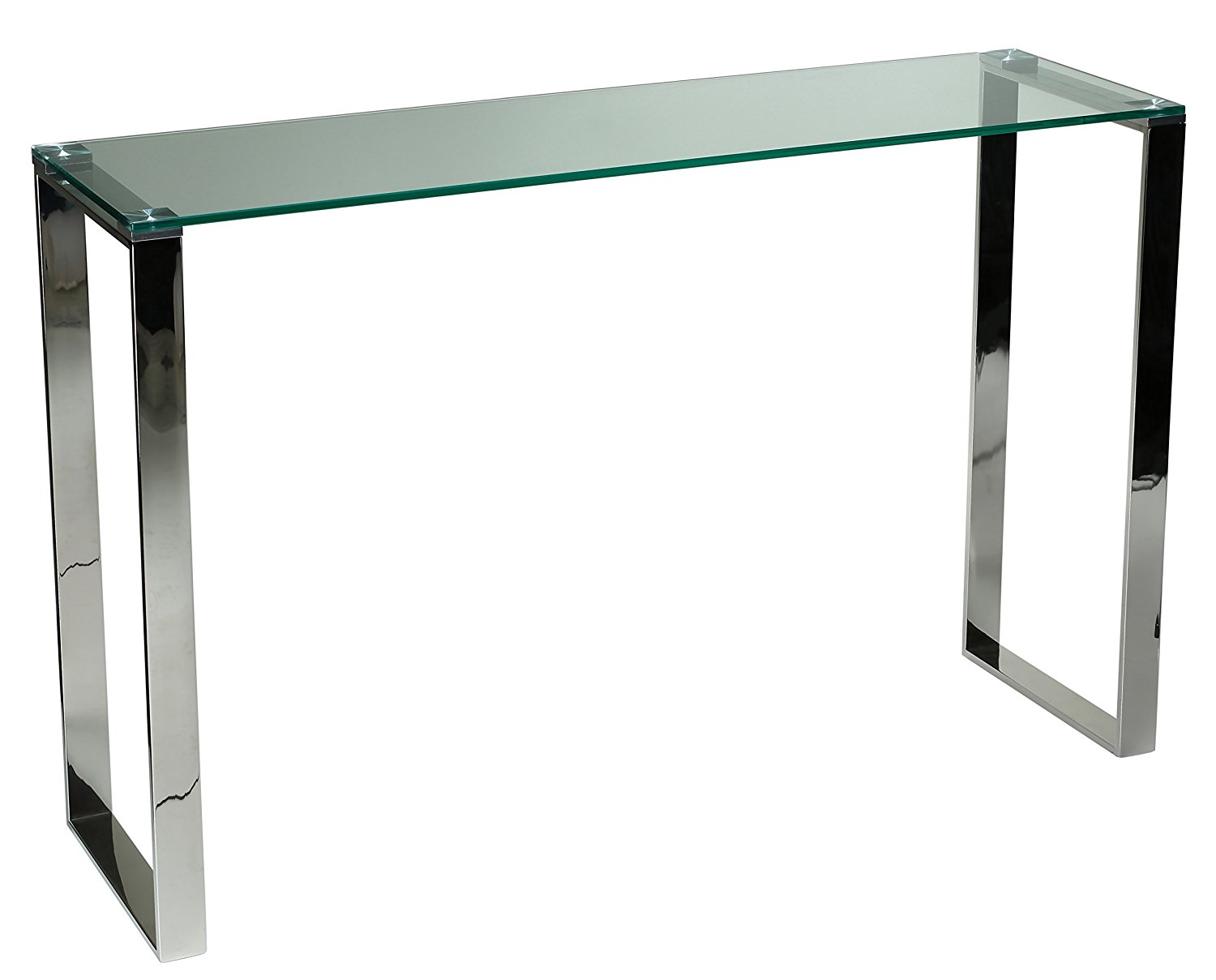 Get Quotations · Cortesi Home Remi Contemporary Glass Console Table With  Chrome Finish