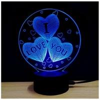 Valentine's Day Gift Rose Bear Heart Acrylic USB LED Touch Night Light Lamp