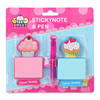 INTERWELL LW7688 Pretty Sticky Notes Logo Box With Ballpoint Pen