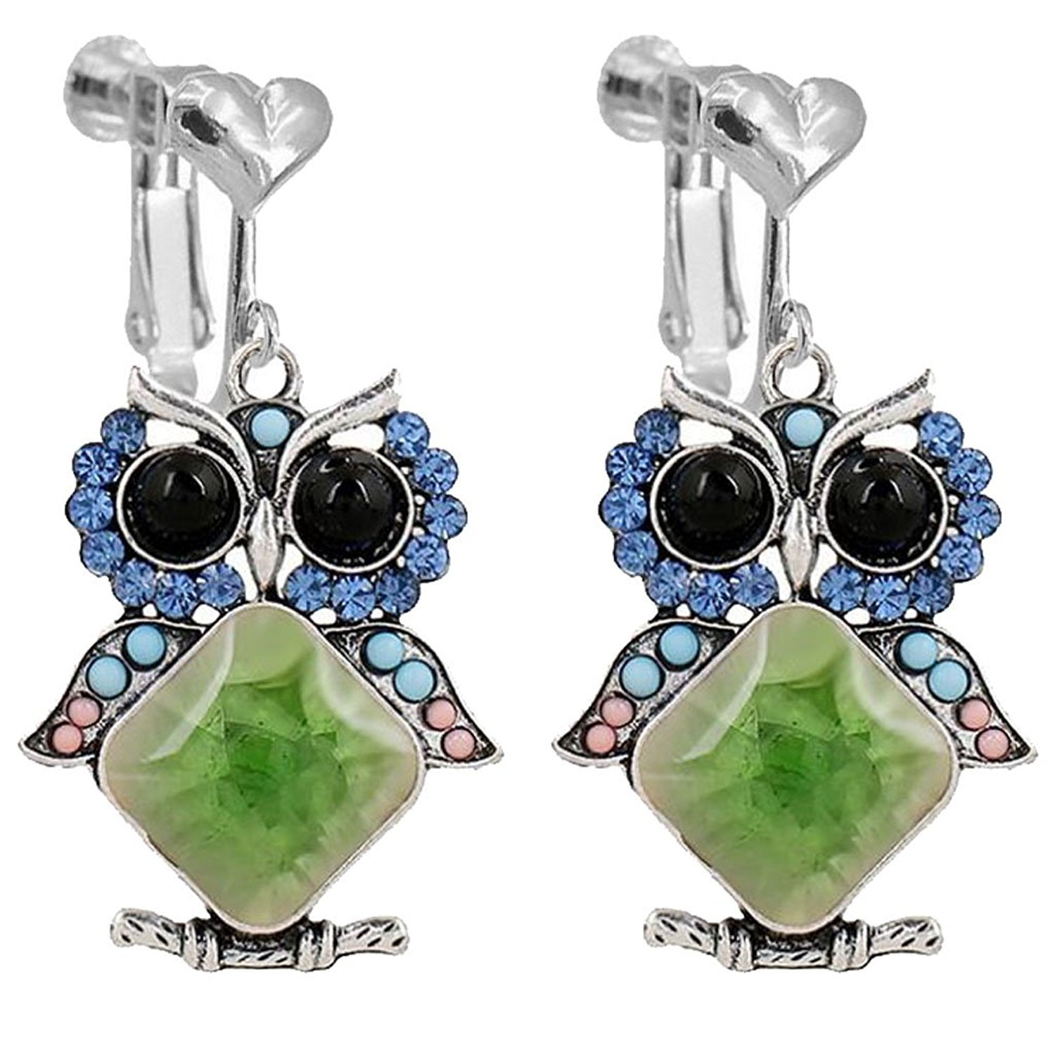 Bohemian Animals Bird Owl Clip on Earrings Heart Clip for Girls Women Blue Crystal Green Square Stone