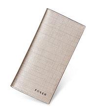 Женский Длинный кошелек-клатч FOXER, Длинный кошелек из воловьей кожи с отделением для карт(Китай)