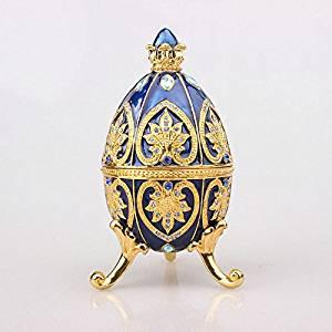 Faberge-style Egg Jewelry Box Egg Shaped Jewelry Display Box Pewter Gift Box