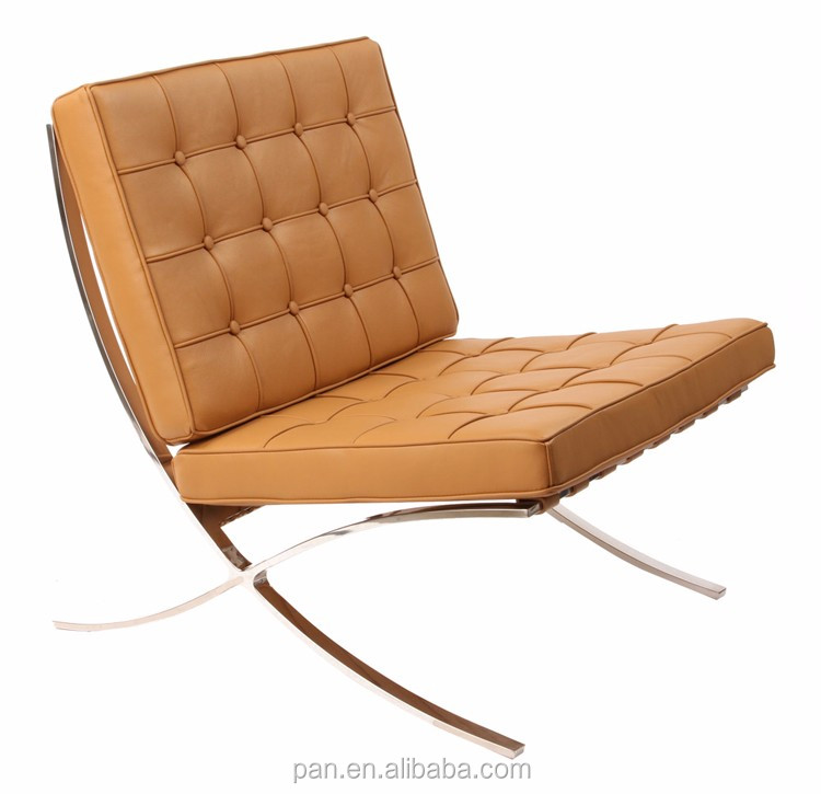 Modern Replica Furniture Stainless Steel Frame Knoll Style Leather Barcelona  Chair Sofa