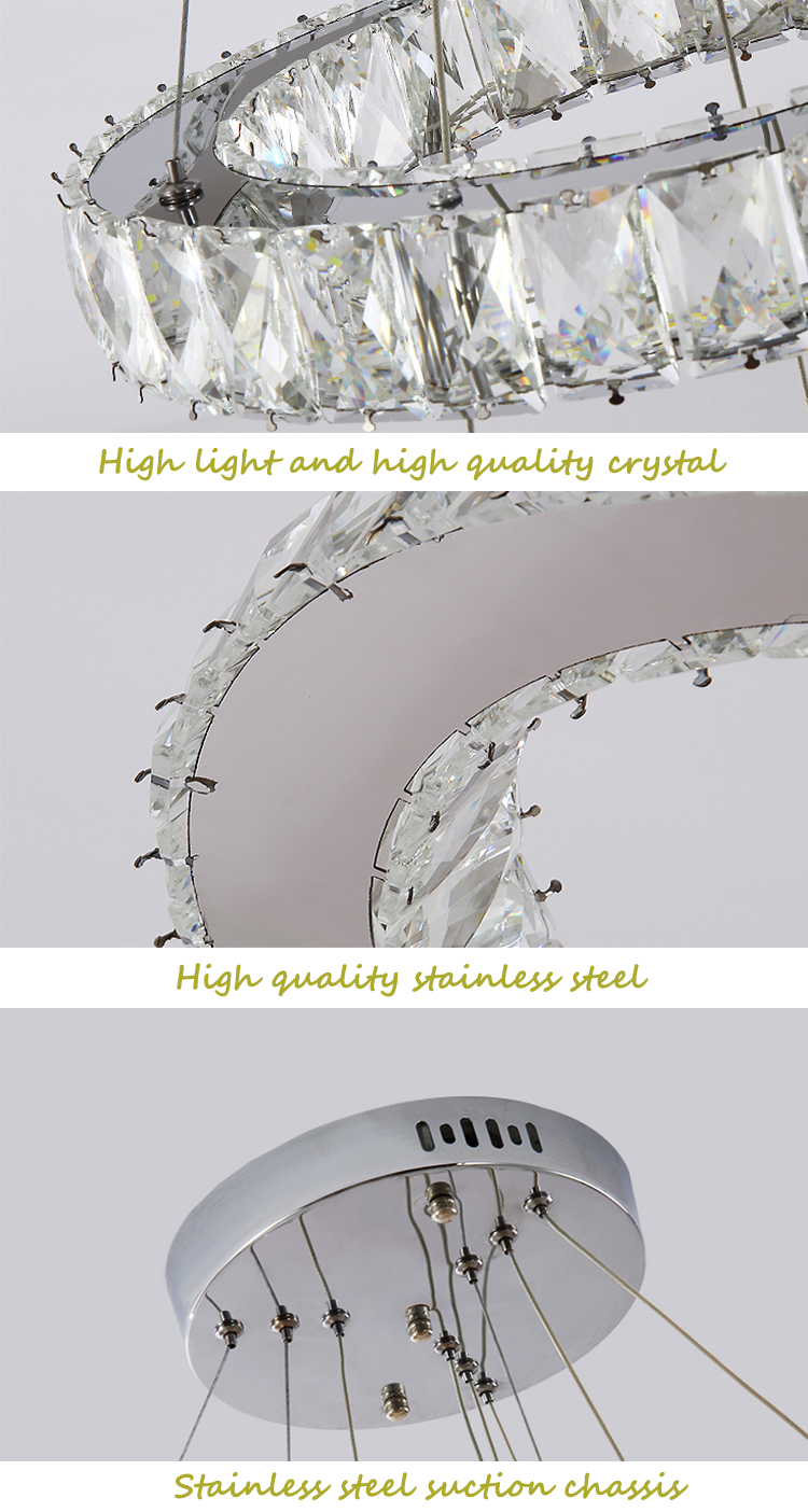 Оптовая продажа Крытый Декор Пользовательские люстра лампа открытый подвесные светильники Роскошные кольцо современный K9 кристалл цепи LED люстры