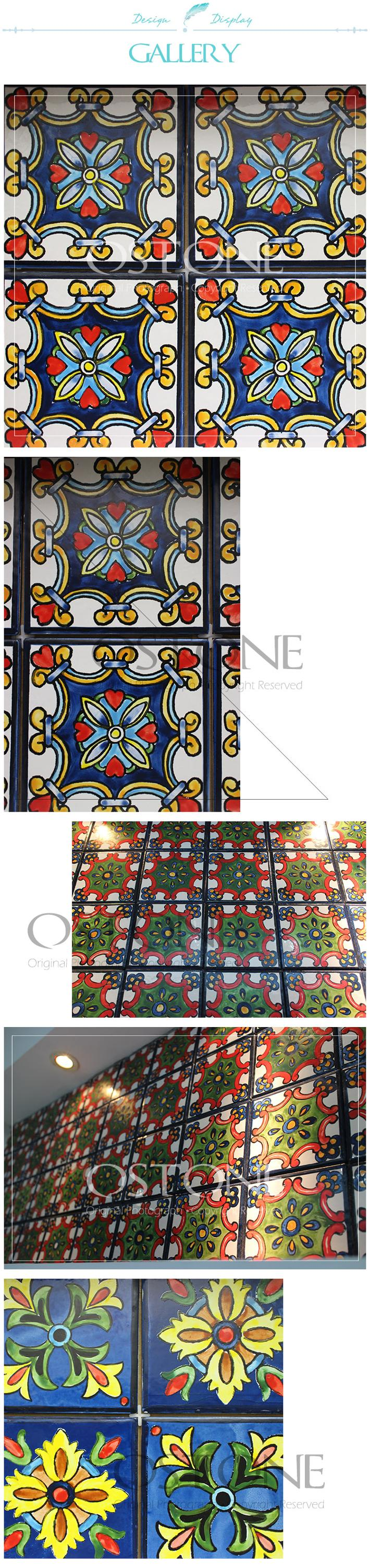 Colored Hand Painted Flower Pattern Ceramic Tile Wall Tiles