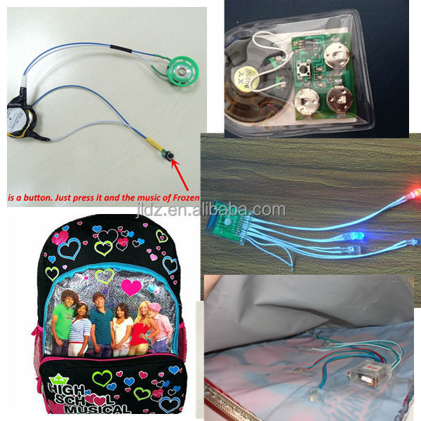 Light sensor sound module for music box package toys bag