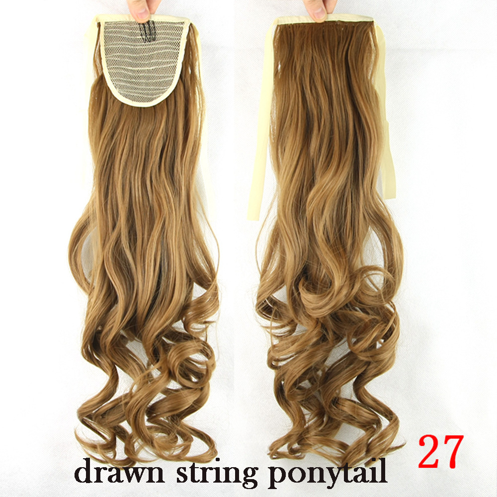 black color drawstring ponytails straight hair