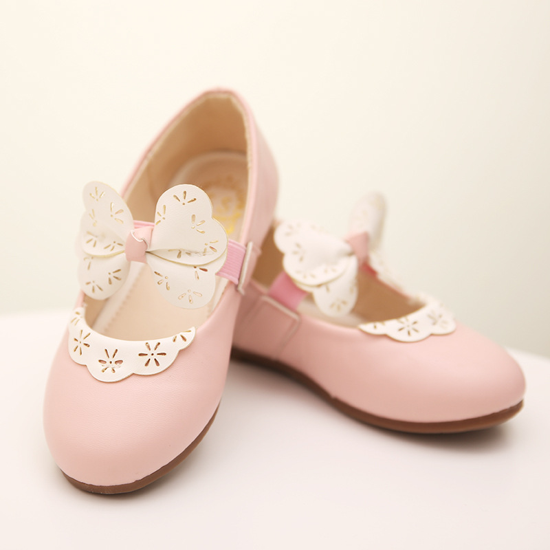 Autumn 2015 new girls princess shoes bow punching shoe lace shoes show shoes