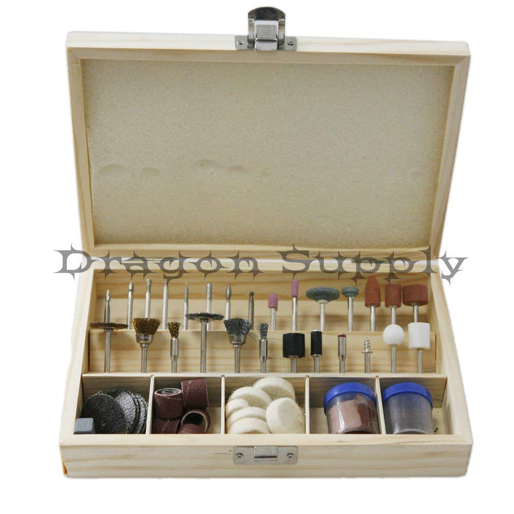 """simply silver - New 100pc Mini Rotary Accessory Bit Set Fit Dremel 1/8"""" Power Tools Wood Case"""