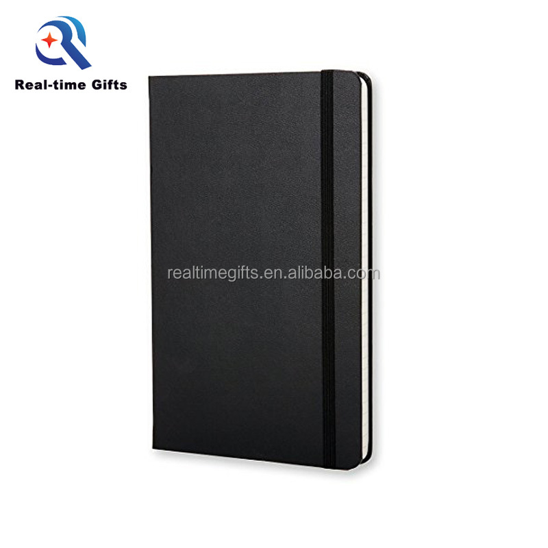 Fashion Hadiah Promosi Hitam Hardcover Elastis Band PU Kulit Terikat Notebook A5