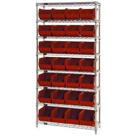 Wire Shelving With (28) Giant Plastic Stacking Bins Red, 36x14x74
