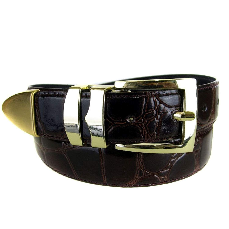 Blue Bonded Alligator Skin High Quality Fashion Dress Belt