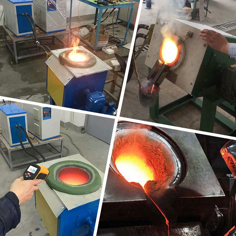 IGBT medium frequency small crucible induction melting furnace copper melting furnace