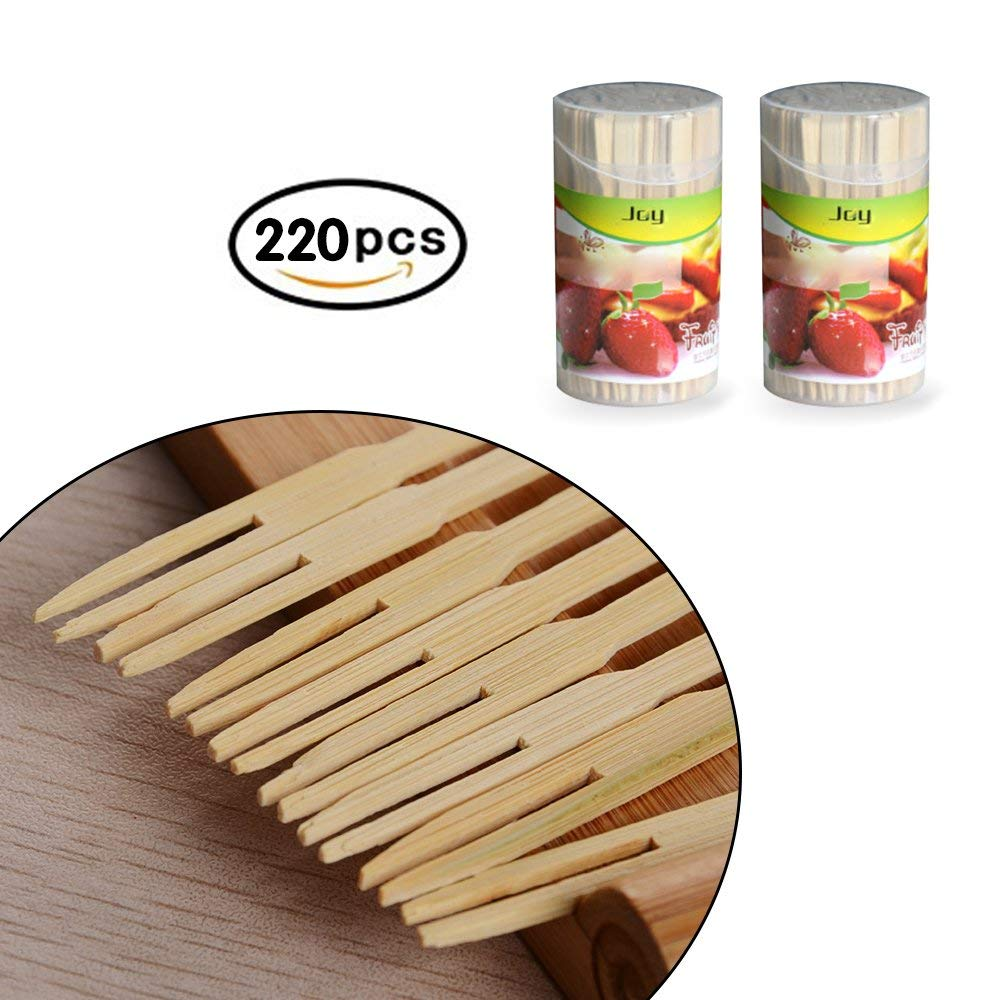 Bamboo Forks 3.5 Inch, Mini Food Picks for Party, Banquet, Buffet, Catering, and Daily Life. Two Prongs - Blunt End Toothpicks for Appetizer, Cocktail, Fruit, Pastry, Dessert. (Two Pack of 220 PCS)