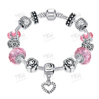 Wholesale Fashion DIY Silver Plated coulourful charm Bracelet