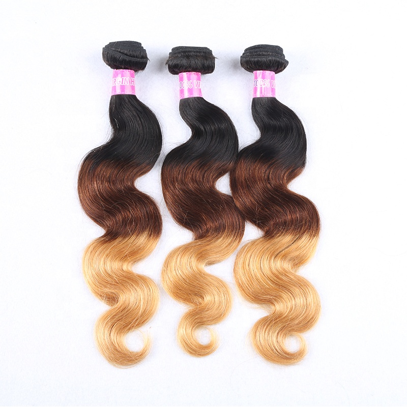 Wholesale Peruvian Virgin Hair Body Wave 3 Tone 1b 4 27 Color Ombre Hair Extensions Remy Hair Weave Bundles, Natural color #1b 30 body wave