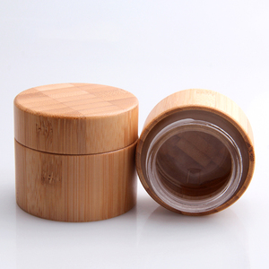 glass cosmetic bamboo jar base material and skin care cream use wooden jars