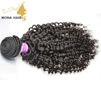 Unprocessed natural black malaysian kinky curly hair can be straightened without synthetic hair mixed