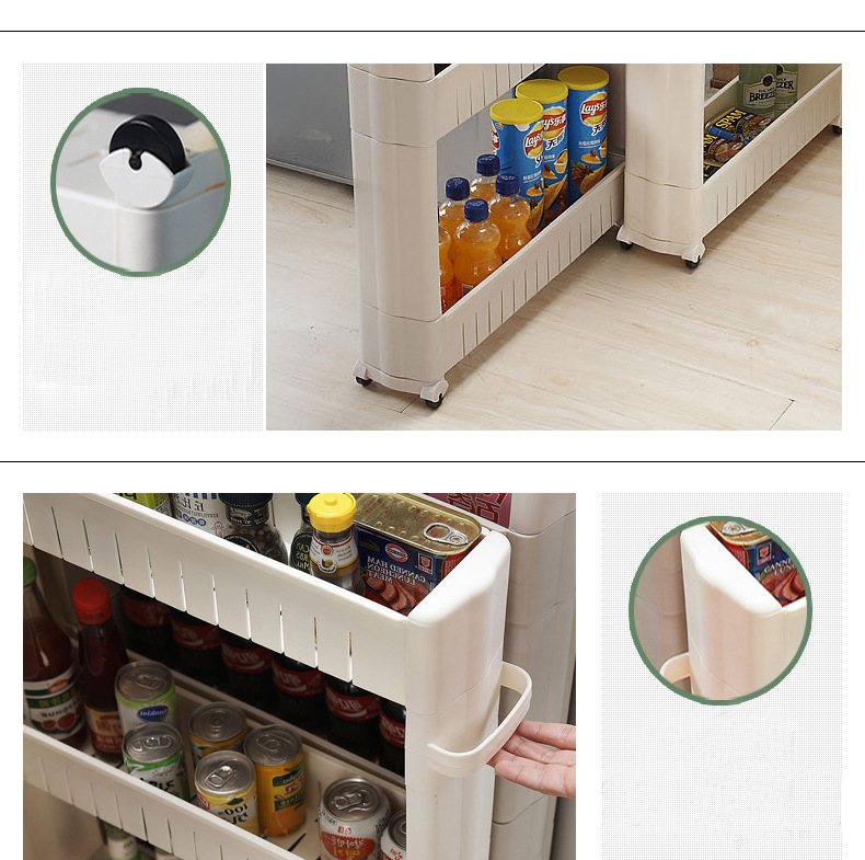 Plastic crevice holder with handle type seam moving storage basket