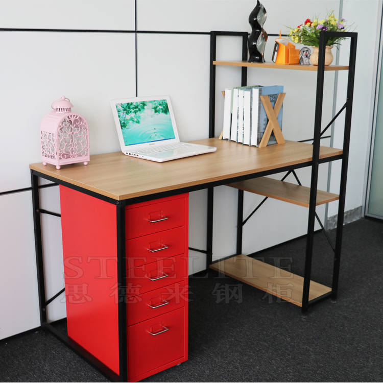 Cheap Home Durable Used Wooden And Metal Desk Study Table With Self
