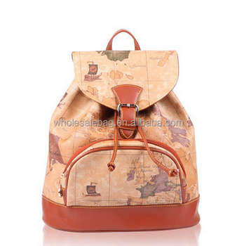 2015 leisure style hot sale world map printing pu leather satchel 2015 leisure style hot sale world map printing pu leather satchel bag travel backpack bag rucksack gumiabroncs Images