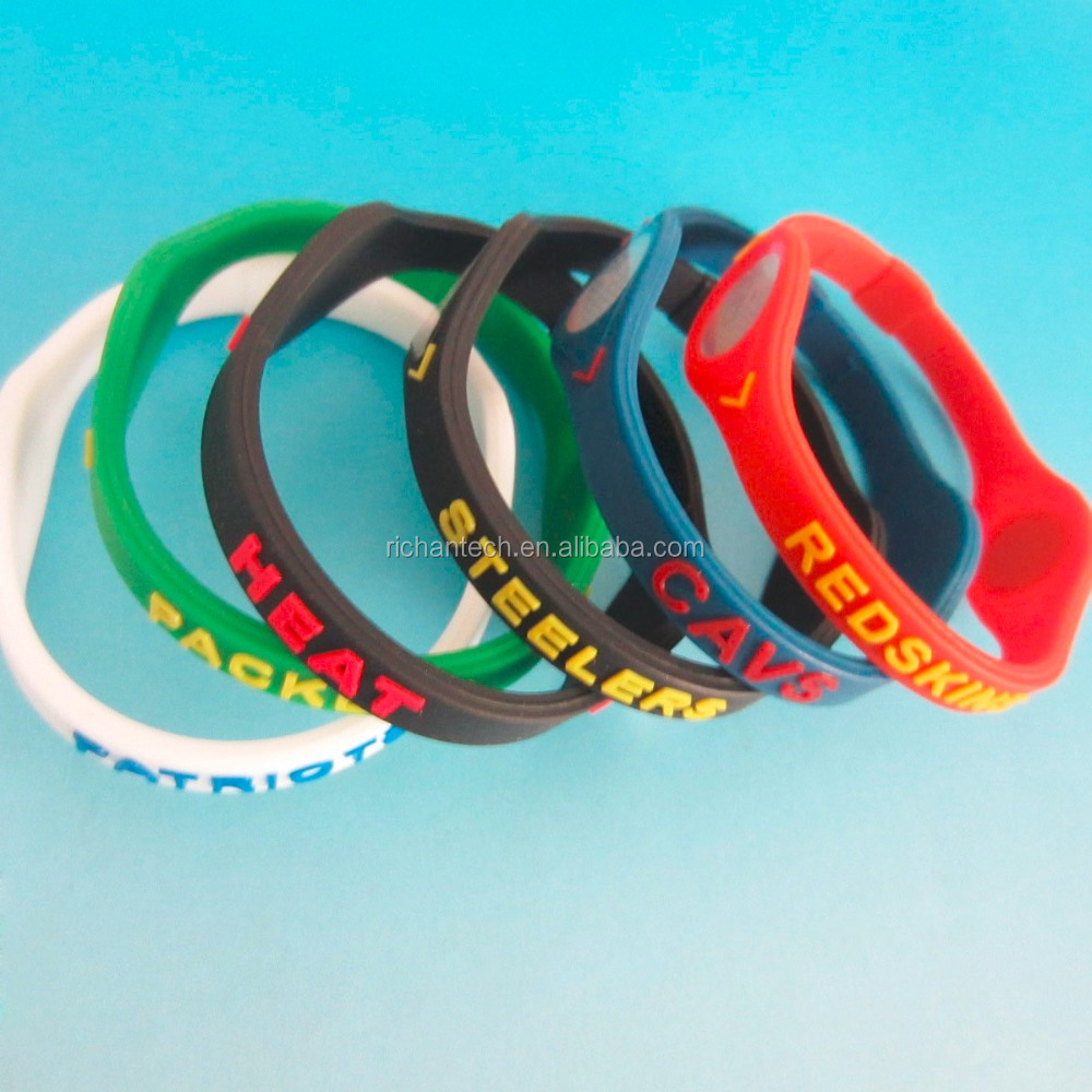 Customized NBA team Sport Energy Balance Silicone Wrist Hand Band