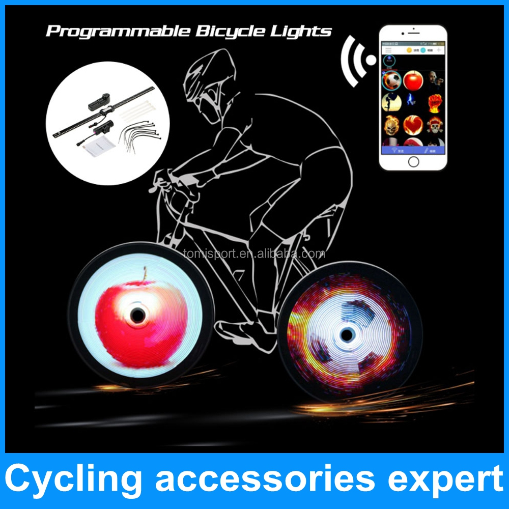 high quality smart phone app wifi control DIY led programmable bike bicycle wheel light