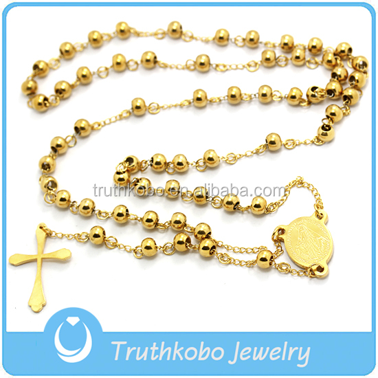 Western 24K Yellow Gold Plated Handmade Rosary Bead Cross Necklace in 316L Stainless Steel