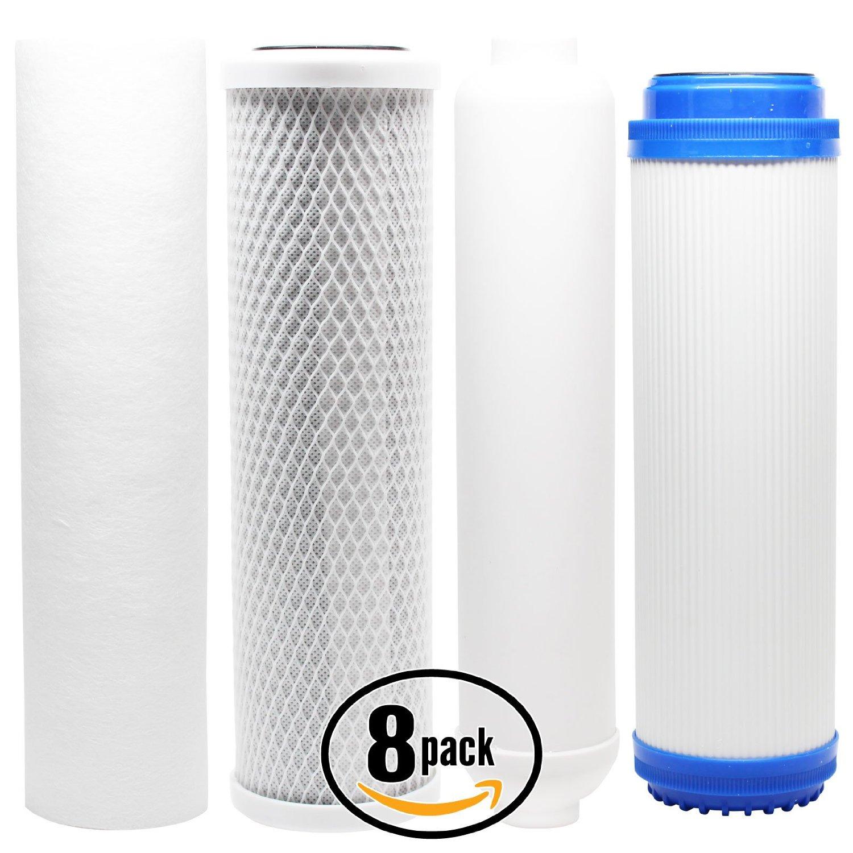 8-Pack Denali Pure Universal 10 inch Carbon Block, Sediment, GAC, Inline Filter - Compatible with iSpring RCC7P-AK, iSpring RCC1UP-AK, AMPAC USA APRO4, AMPAC USA APRO5, AMPAC USA APRO-ALK
