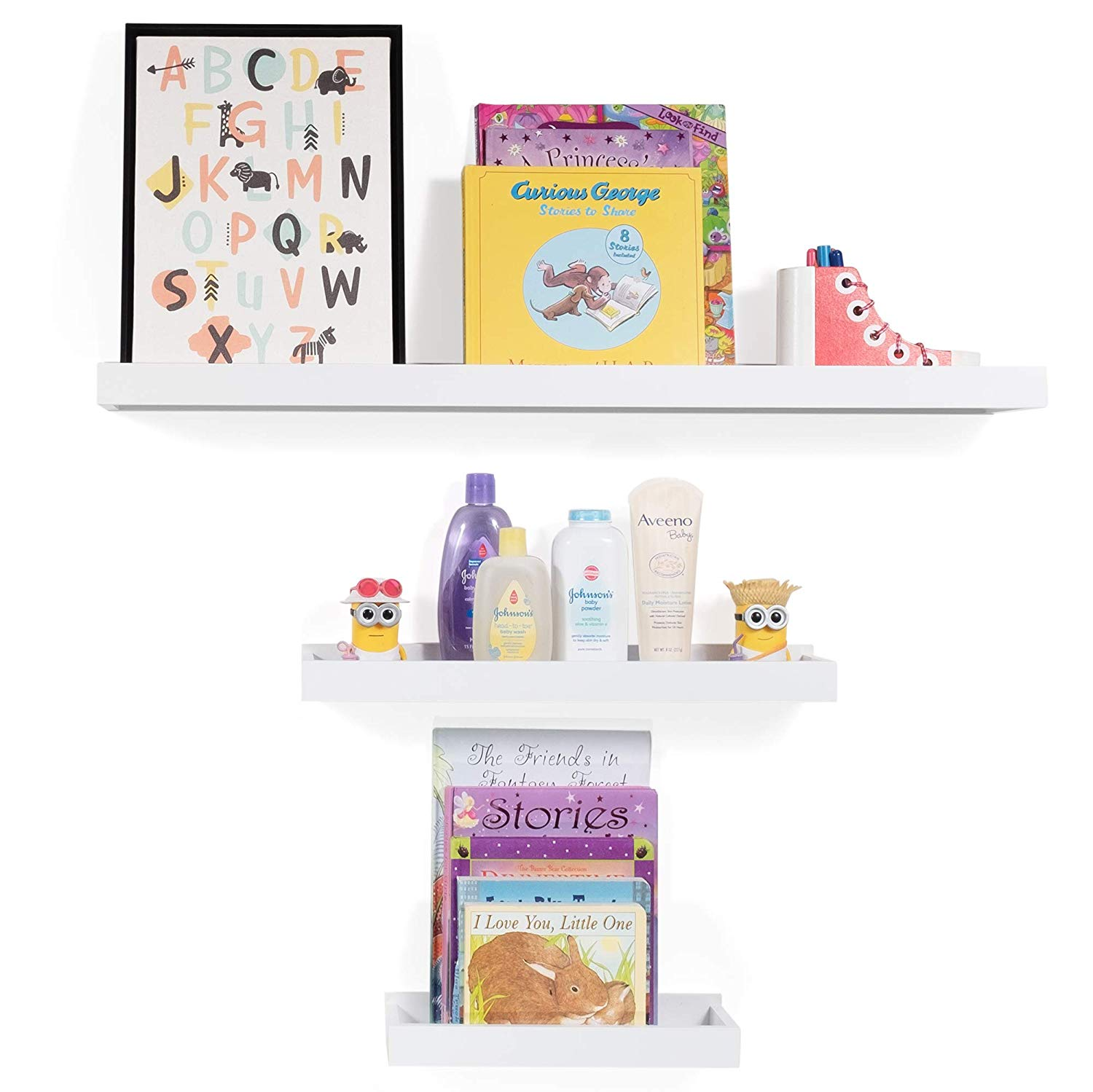 Wallniture Philly 3 Varying Sizes Floating Shelves Trays Bookshelves And Display Bookcase Modern Wood Shelving