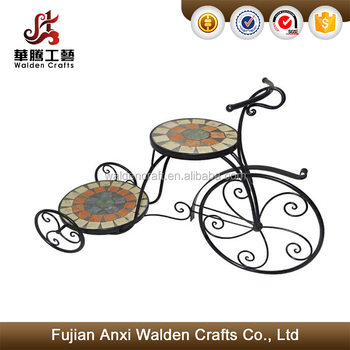 Best Ing Mosaic Tile Bicycle Flower Plant Stand Garden Home Decoration