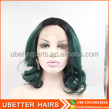 fashion ombre green short bob synthetic lace front wigs for black women
