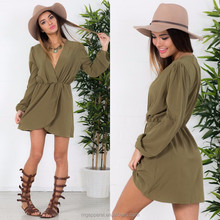 fashion dress long sleevev neck elastic waistband girls dress in khaki