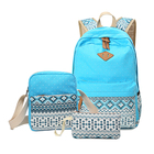 Sky blue stylish ladies canvas book bag casual women daily backpacks girls school student female back packs