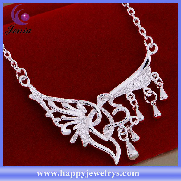 Fashion best friends heart necklaces 925 silver necklace chain (AN795)
