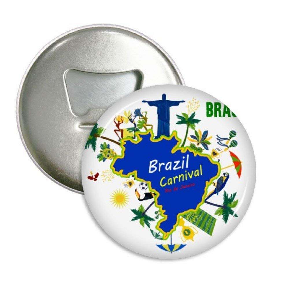 Mount Corcovado Brazil Maps Brazil Carnival Round Bottle Opener Refrigerator Magnet Pins Badge Button Gift 3pcs