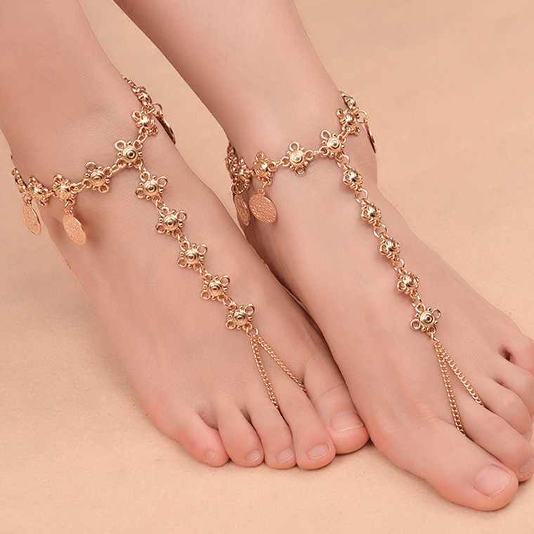 Queena Female Jewelry Vintage Silver Anklet Chain Lots Bell Beads Anklet