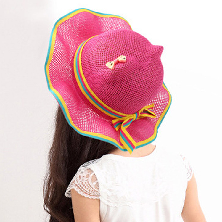 0dcc576d Get Quotations · Kids Girls Baby Hat Fashion Summer Beach Sun Straw Hat  Cartoon Cat Ears Cap Princess Basin