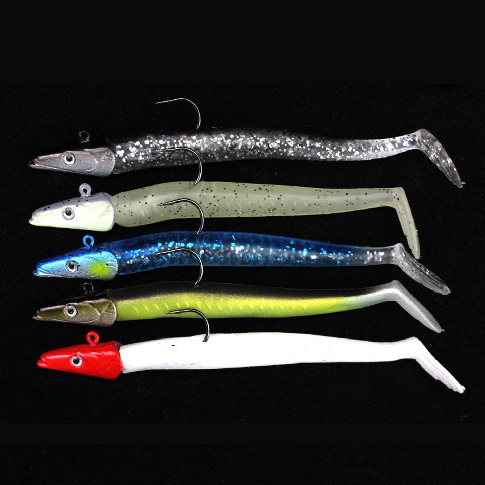 5pcs/sets Fish Lure Wobbler Sinking Jigging Sea Peche Pesca 11cm 10g 3D lead jig Head Single Hook Soft Fishing Bait